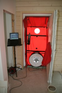 Testaufbau für den Blower Door Test